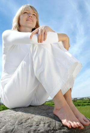 Mujer sana con macrobiótica