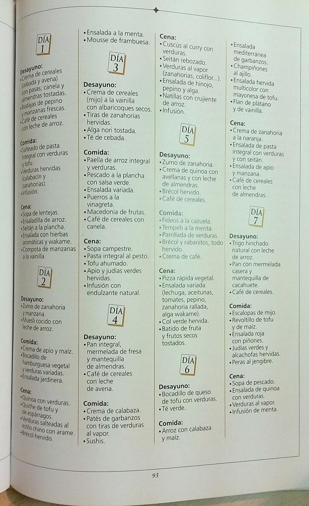 Dieta macrobiotica menus semanales